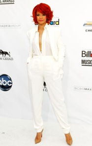 Rihanna-white suit