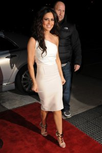 cheryl-cole-liverpool-roland-mouret-belmont-colorblock-wool-crepe-dress-giuseppe-zanotti-golden-pyramid-stud-leather-sandals
