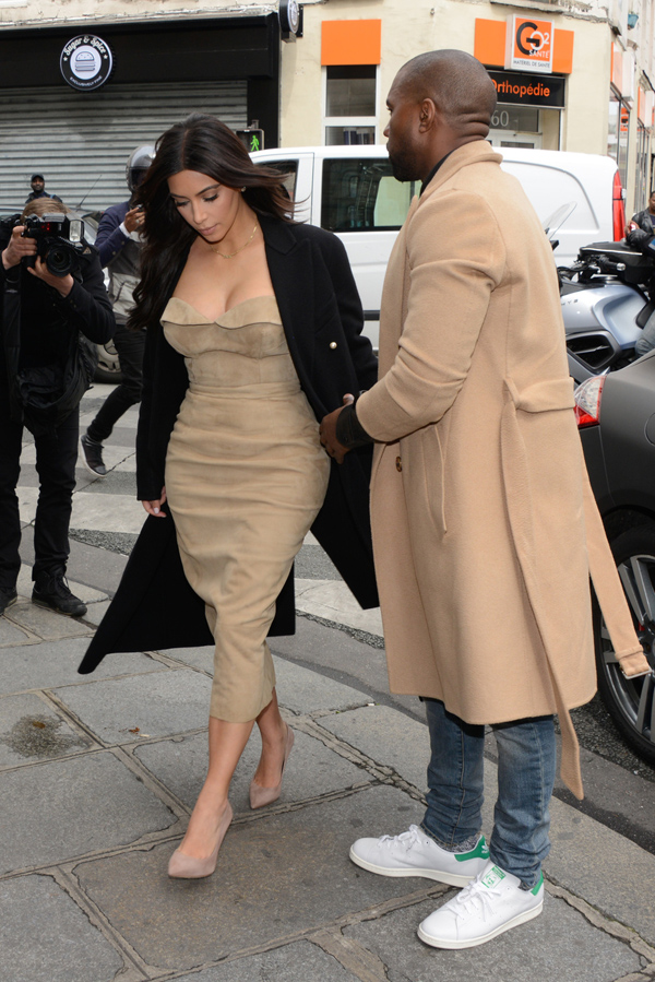 Kim Kardashian and Kanye West seen leaving Martin Margiela in Paris