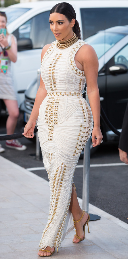 kim-kardashian-white-balmain-dress-rope-dress-aw14-celebrity-fashion-wedding-dress-designer-mailonline-cannes-boat-party